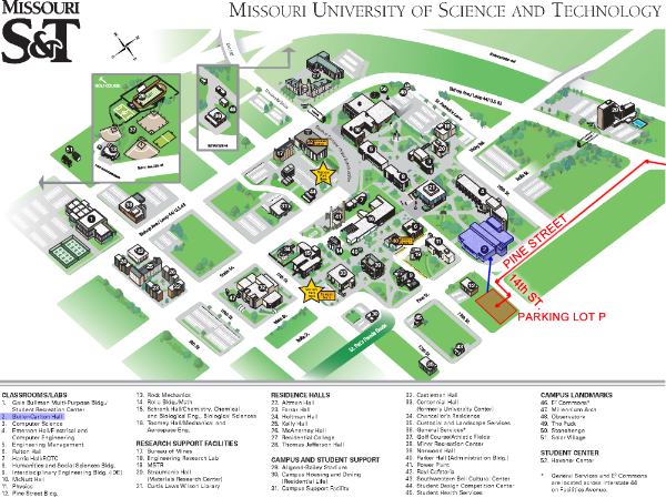 Map of S&T campus with BCH highlighted.